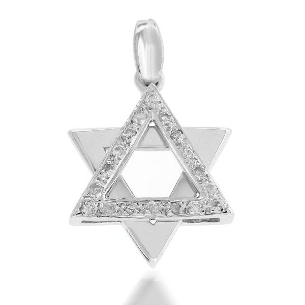 020 ct tw diamond star of david pendant in 14k white gold iusd aloadofball Images