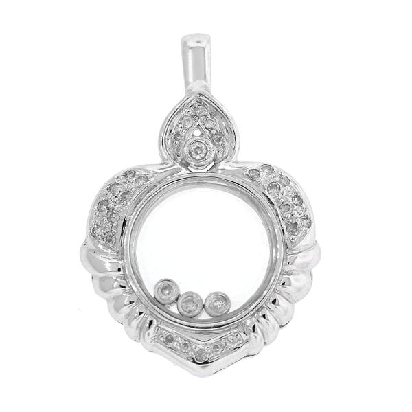Floating diamond heart pendant necklace fgg aloadofball Images