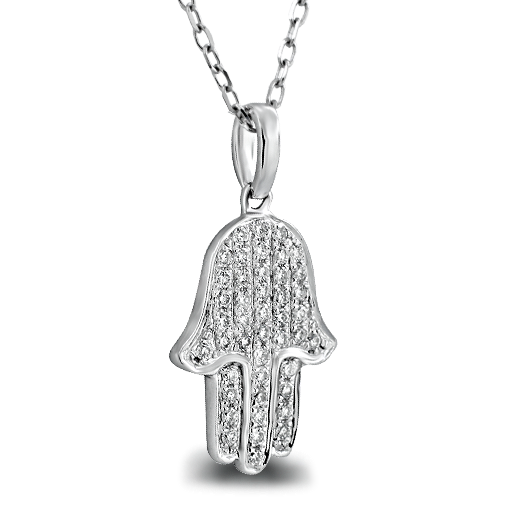 Diamond hamsa pendant necklace 14k white gold 030ctw diamond hamsa pendant aloadofball Choice Image