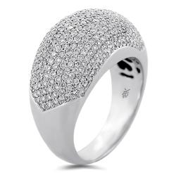 Pave diamond Dome Ring 18K White Gold