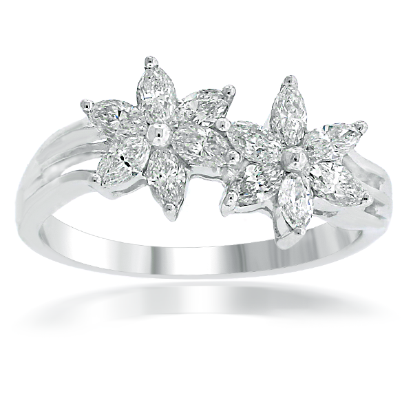 Marquise Flower Diamond Ring In 18k White Gold